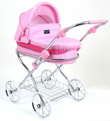 Valco Girls Pink Princess Classic Pram With Shopping Tray ~ Lay-By Welcome ~
