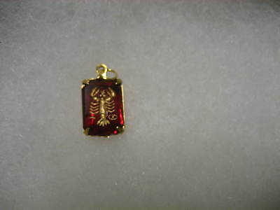 Vintage Zodiac CANCER the crab glass etched intaglio pendant