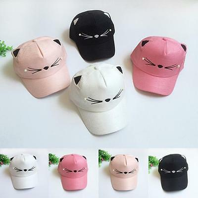 Toddler Kids Baby Girl Boy Cute Pearl Cat Visor Baseball Cap Peaked Hip-Hop Hat