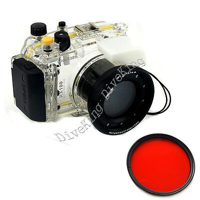 Underwater Waterproof Housing Diving Case for Sony RX100 Camera  67mm Red Filter
