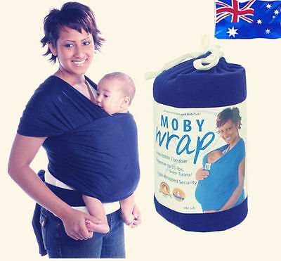 Moby Comfortable Cotton Wrap Infant Baby Carrier Sling Top 0-3 Years DarkBlue