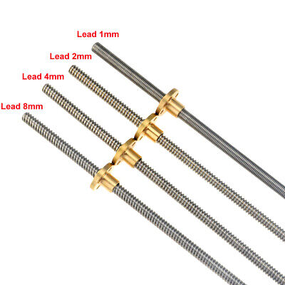 T8 Pitch 1mm / 2mm Lead 1/2/4/8mm Rod Stainless Lead Screw + brass color nut