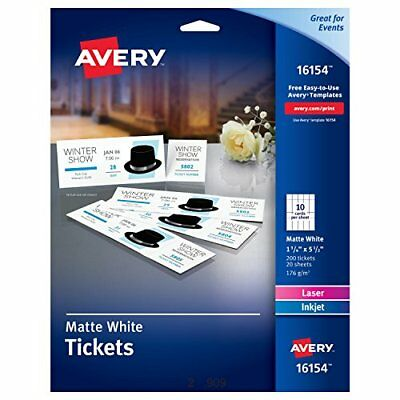 Avery Tickets with Tear-Away Stubs, 1.75 inches x 5.5 inches, Matte White