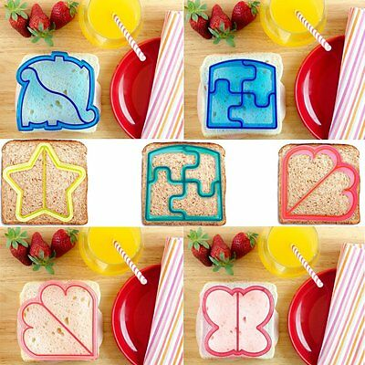 9Pcs Sandwich Cutter Mould Elephant Dinosaur Puppy Puzze Crust Bread Cake Toast