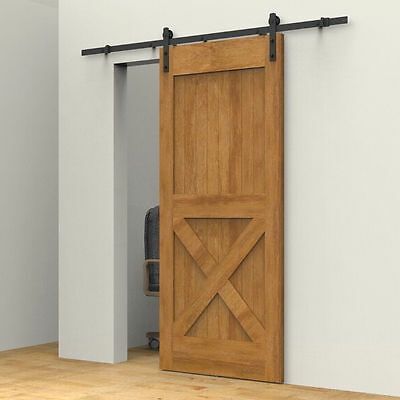 5FT Black American Country Wood Sliding Barn Door Hardware Track Set Modern WP