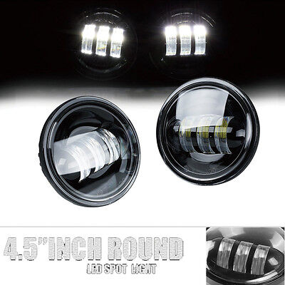 Pair 4.5 inch LED Auxiliary Fog Driving DRL Light for Harley Motorcycle Black