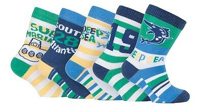 Baby Boys Colored Cotton Ankle Socks Deep Sea/Submarine Designs (10 Pack)