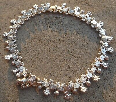 Lovely Indian Bollywood belly dance ethnic silver plated anklet