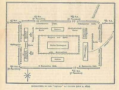 Antique Engraved Map/battle Plan, Ulundi, The Square 1879