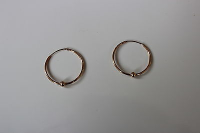 10K Yellow Gold 21 mm Sleeper Earrings with Gold Ball - NEW