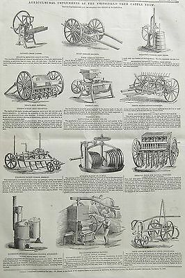 Farming: Agricultural Implements, Smithfield Show 1846, Antique Engraved Print