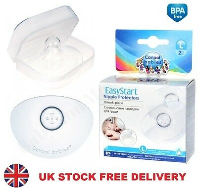 EXCELLENT QUALITY 2x Silicone Nipple Shields Protectors BPA Free S M L EasyStart