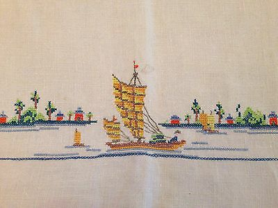 Vintage Linen Embroidered Asian Chinese Boats Runner Placemat Napkin Set