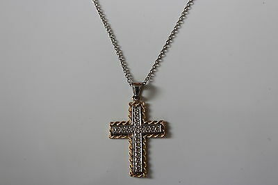 14K Yellow Gold and Sterling Silver Cross Pendant 18 inches 4 grams - NEW