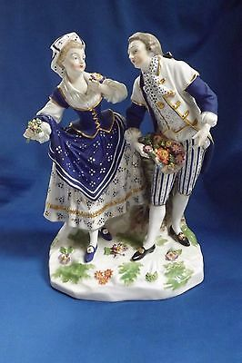 """Antique Royal Vienna Beehive Mark Courting Couple Porcelain 91/4""""Figurine"""