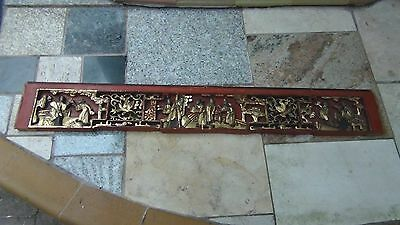 ANTIQUE19c CHINESE WOOD CARVED PIERCED GILT TEMPLE PANELS OF COURT SCENE # 2