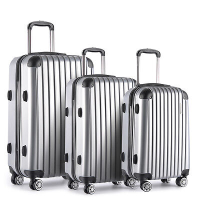 Set of 3 Hard Shell Travel Luggage with TSA Lock - Silver Bags