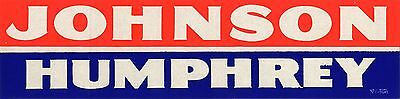 1964 Campaign Lyndon JOHNSON Hubert HUMPHREY Bumper Sticker (4268)