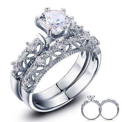 Diamond Solitaire Semi Mount Setting Vintage Engagement Ring 14K White Gold Band