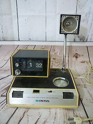 Vintage Ross Wake-o-Matic 5500 Mid Century Flip Clock Solid State Lamp Radio