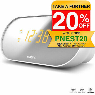 Philips AJ2000 FM Dual Alarm Clock Radio/Digital Tuning/Mirror Display/Snooze