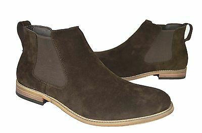 Mens casual designer chelsea boots brown suede slip on new in box 6-12