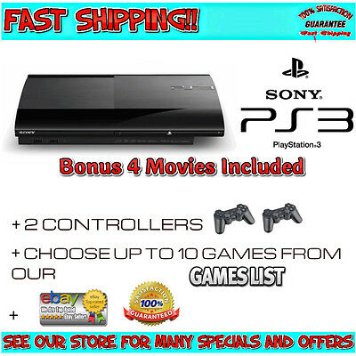 PS3 Super Slim Console 500GB | PICK YOUR 10 GAMES | 2 Controllers | WNTY