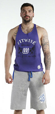Fitwise Men's Vests Regular Fit Tank Tops 100% Cotton Summer Training Gym Purple