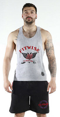 Fitwise Men's Vest Cotton Sleeveless Shirt Summer Top Exercise Gym training Grey