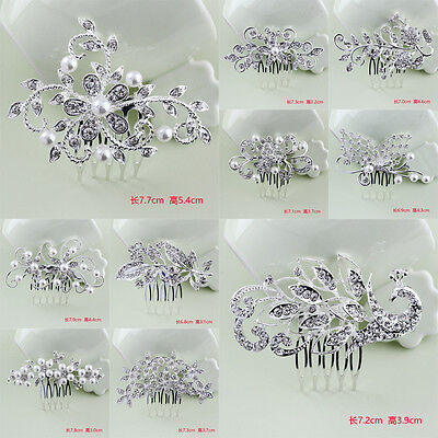 Peacock Butterfly Crystal Pearl Hair Comb Clip Hairpin Rhinestone Bridal Wedding