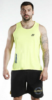 Fitwise Men's Top Cotton Vest Sleeveless TShirt Summer Training Shirts Yellow