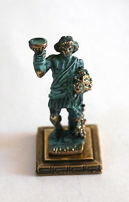 ANCIENT GREEK ZAMAC MINIATURE OF BACCHUS (DIONYSOS) green gold