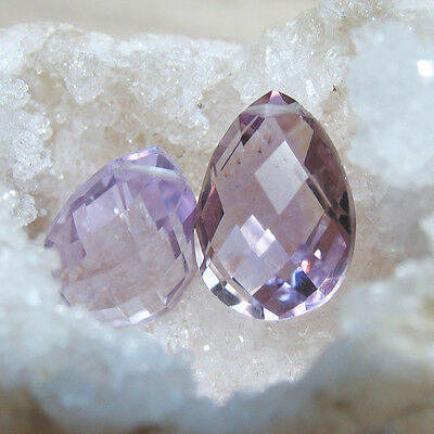 1 pink amethyst chess board cut briolette perle, kalibriert, 5ct.,14x10x6mm