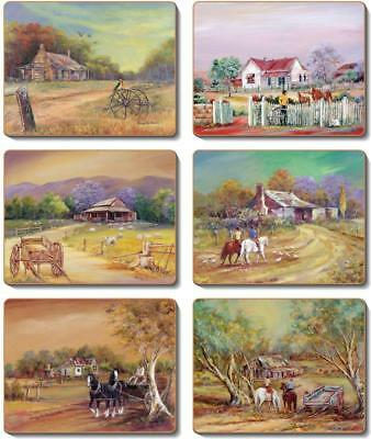 Country Inspired Kitchen HOMESTEADS Cinnamon Cork backed Placemats or Coaster...