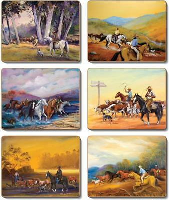 Country Kitchen MAN FROM SNOWY RIVER Cinnamon Cork backed Placemats or Coaste...