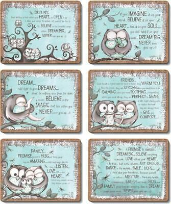 Country Inspired Kitchen MINT OWL Cinnamon Cork backed Placemats or Coasters ...