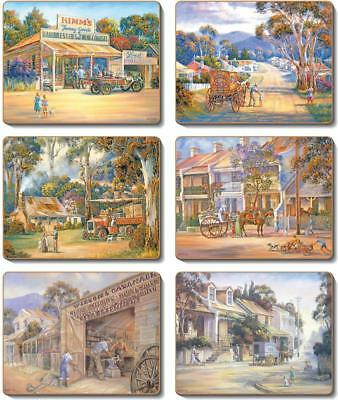 Country Inspired Kitchen TOWNS Cinnamon Cork backed Placemats or Coasters Set...
