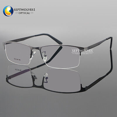 Men Titanium Metal Half Rimless Myopia Eyeglasses Frames Optical Eyewear Rx Able