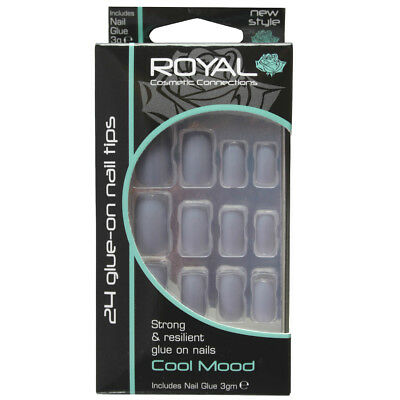 Kit 24 faux ongles & colle gris clair Cool Mood de Royal light grey false nails