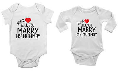 Daddy Will You Marry My Mummy? Love Heart Valentines Proposal Cute Vest Bodysuit