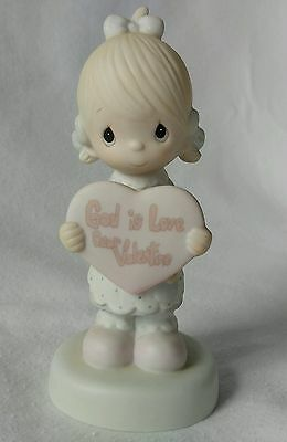 Precious Moments Figurine GOD IS LOVE DEAR VALENTINE e-7154 1981 Enesco
