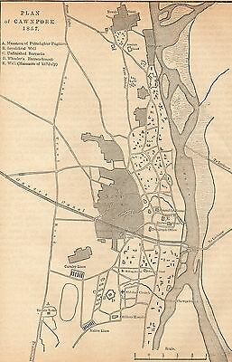 Antique Map/battle Plan, Indian Mutiny, Plan Of Cawnpore 1857