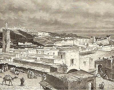 Antique Engraved Print, Morocco, Tangier, View Of Landward Side 1886