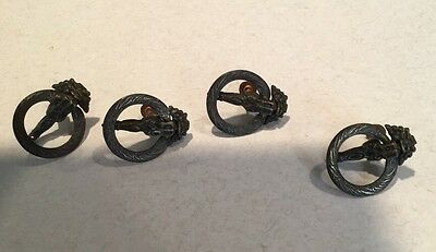 "Vintage Copper Circular Drawer Pulls Handles 1-3/8"" Set Of 4"