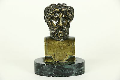 Bronze Antique Bust of a Greek Satyr, Companions of Dionysus, Marble Base Statue
