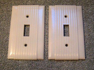 VTG 2 UNILINE P&S RIBBED Bakelite Single Toggle PLATE COVER IVORY- Art Deco