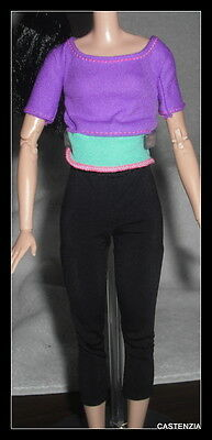 Outfit  Barbie Doll Made To Move  Purple Green Bright Yoga Shirt Clothing Item