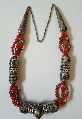 Vintage Yemeni Coral and Silver Necklace,Middle Eastern Jewelry