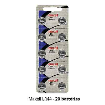 Maxell LR44 Alkaline 1.5 Volt Battery Hologram (20 cells) L1154 AG13 A76