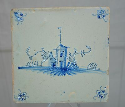 """Delft Tile Dutch """"Round House"""" with perimeter Floral Pattern"""